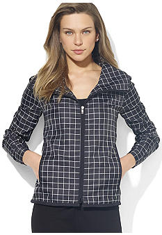 Lauren Active Plaid Funnel Jacket