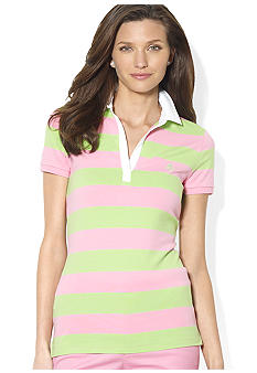 Lauren Active Striped Embroidered Polo