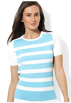 Lauren Active Short-Sleeved Zip-Shoulder Striped Pullover Sweater