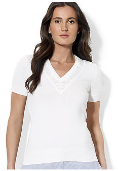 Lauren Active Short-Sleeved Perforated-Neckline Combed Cotton Top