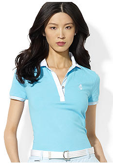 Lauren Active Contrast Collared Split-Neck Polo