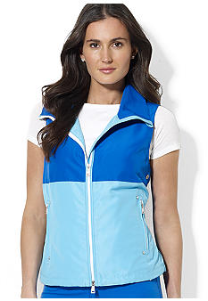 Color-Blocked Mockneck Windbreaker Vest