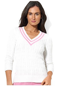 Lauren Active Cable-Knit V-Neck Sweater