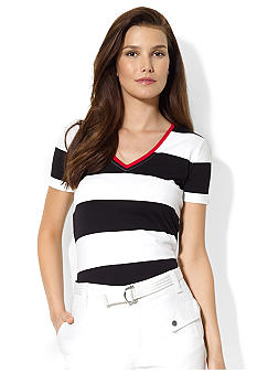 Lauren Active Striped Cotton V-Neck Shirt