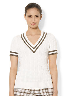 Lauren Active Short-Sleeved V-Neck Cable-Knit Sweater