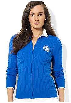Lauren Active Full-Zip Cable-Knit Cotton Cardigan