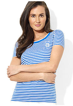 Lauren Active Striped Scoopneck Tee