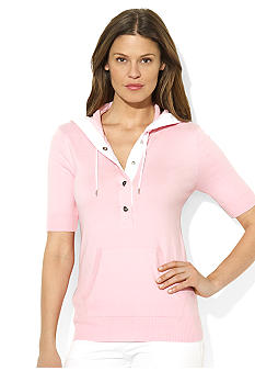 Lauren Active Short-Sleeved Cotton-Blend Hoodie