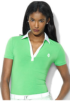 Lauren Active Short-Sleeved Stretch Cotton Jersey V-Neck