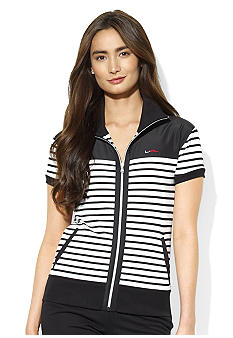 Lauren Active Striped Mockneck Cotton Jacket