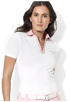 Lauren Active Tattersall-Collar Piqu Cotton Polo