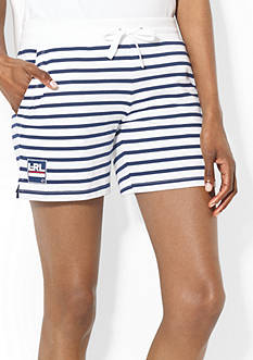 Lauren Active Striped French Terry Drawcord Short