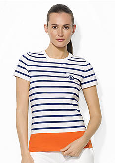 Lauren Active Striped Crewneck Pocket T-Shirt