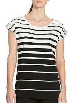 Lauren Active Striped Stretch Cotton Tee