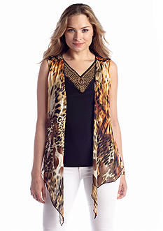 New Directions® Embellished Printed 2Fer Top