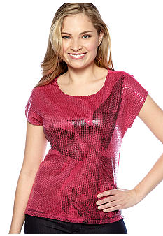 New Directions Sequin High Lo Tee