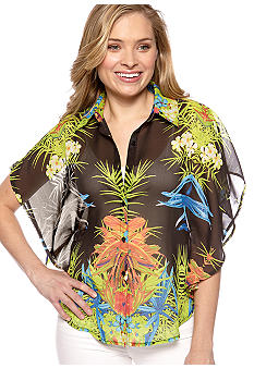New Directions Printed Flutter Sleeve Chiffon Shirt