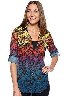 New Directions Printed Chiffon 3/4 Quarter Sleeve Roll Tab Utility Shirt