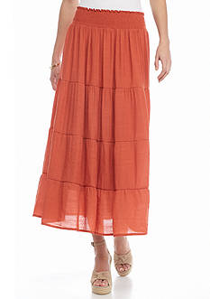 New Directions Solid Tiered Peasant Skirt