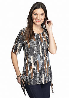 New Directions Feather Print Top With Side Grommet Tie