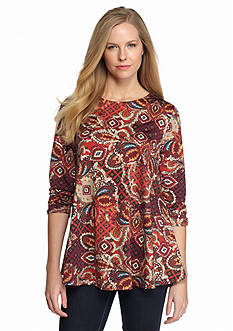 New Directions Paisley Medallion Shirred Top