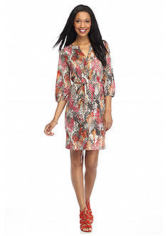 New Directions Belted Snakeskin Printed Shirttail Shift Dress
