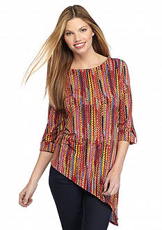 New Directions Mixed Print Asymmetrical Top