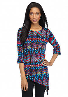 New Directions Ribbon Print Asymmetrical Top