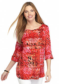 New Directions Printed Shirttail Top
