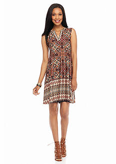 New Directions Printed Sleeveless Trapeze Dress