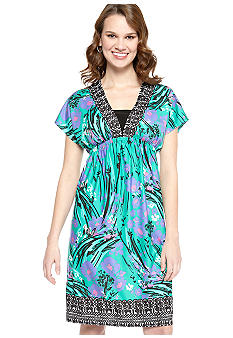 New Directions Kabuki Border Print Dress