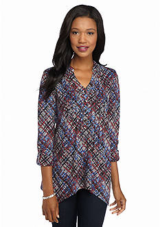 New Directions Plaid Shark-Bite Popover Tunic