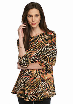 New Directions Printed Shirred Sleeve Swing Top
