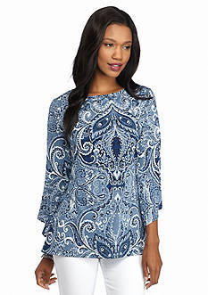 New Directions Paisley Split Bell Sleeve Shark-Bite Top