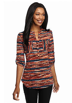 New Directions Multi Stripe Popover Tunic Top