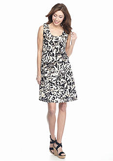 New Directions Printed Swing Grommet Dress