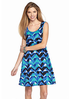 New Directions Abstract Geo Swing Tank Dress