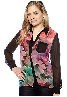 New Directions Collared High Low Button Up Shirt
