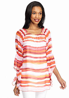 New Directions Ombre Stripe Peasant Blouse