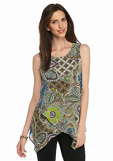 New Directions Paisley Knit To Woven Overlay Blouse