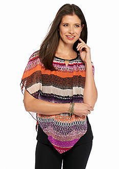 New Directions Multi Stripe Capelet Blouse