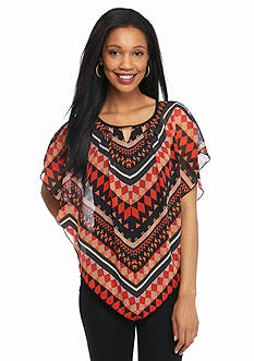 New Directions Knit to Woven Bar Trim Blouse