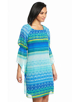 New Directions Printed Ombre Peasant Dress