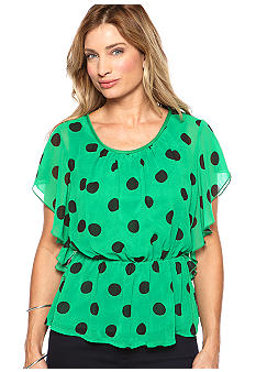 New Directions Polka Dot Peplum Woven Blouse