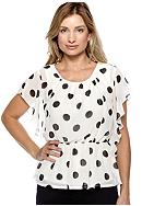 New Directions® Polka Dot Peplum Woven Blouse