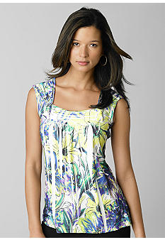 ND New Directions Square Neck Pleated Top - Belk.com