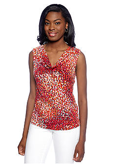 New Directions Pebble Printed Drape Neck Top