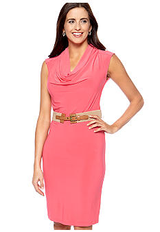 New Directions Cowl Neck Belted Dress