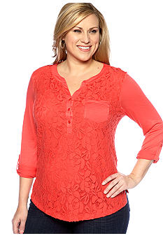 New Directions Plus Size Lace Equipment Shirt