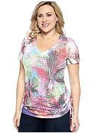 New Directions® Plus Size Floral Print Ruched Sides Tee